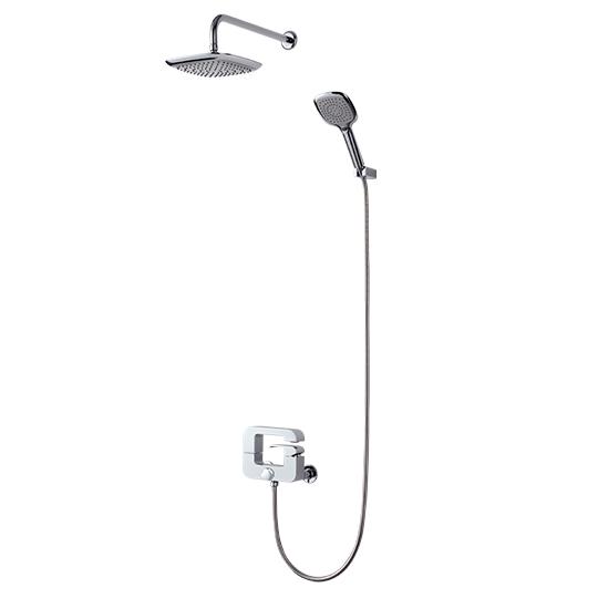 Bath/Shower Mixer W/ Hand Shower & Showerhead & Hose & Wall Bracket